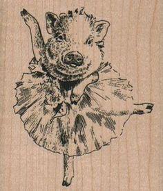 Pig In Tutu 2 1/4 x 2 1/2