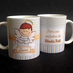 Caneca Batizado Anjo Menino Gift Bouquet, My Precious, Little Babies, Kids And Parenting, Alice, Baby Shower, Mugs, Creative, Lucca