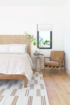 Boasting a contemporary take on Mid-Century Modern style, this teak wood bedframe features a woven leather headboard, bringing natural texture to your bedroom. Bedroom Ideas - Home Decor