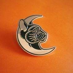 Designed by Daggers for Teeth especially for Bad Cats Club.Gold enamel pin with butterfly back