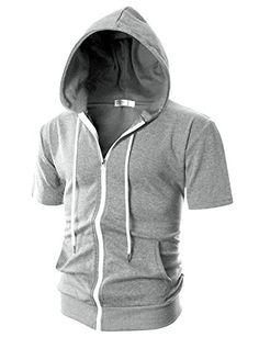 Men's Clothing - Ohoo Mens Slim Fit Short Sleeve Lightweight Zipup Hoodie With Kanga Pocket *** Check this awesome product by going to the link at the image. (This is an Amazon affiliate link)