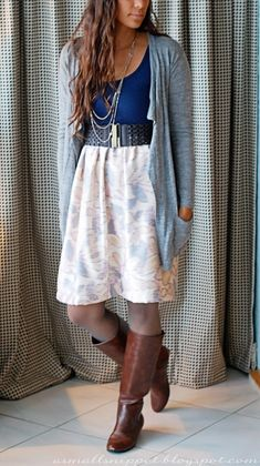 DIY - refashion old tank top and fabric into cute dress to wear with cardigan and boots