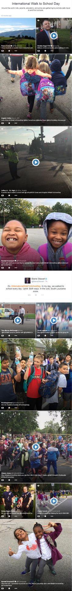 International Walk to School Day was featured on Twitter Moments on 10/7/2015. All but one tweet included a visual. And, looks like Twitter may showcase timely events that have trending hashtags (a reason to use an editorial calendar). Featured tweeters include parents, schools, school principals, TV stations and media personalities, community police officers, community managers, a government agency (@peacecorps), and a NASCAR driver.  #WalkToSchoolDay #socialmedia #Twitter