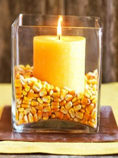 Cute corn candle centerpiece (is that enough C words ;)