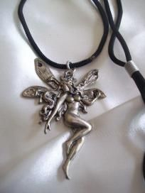Magical Fairy Pendant on Adjustable Black Cord~free shipping Black Fairy, Jewelries, Pagan, Washer Necklace, Cord, Butterfly, Free Shipping, Antiques, Pendant