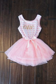 First Birthday outfit dress with gold letters and pink tutu for girls or toddlers by GraceandLucille on Etsy https://www.etsy.com/listing/229426388/first-birthday-outfit-dress-with-gold