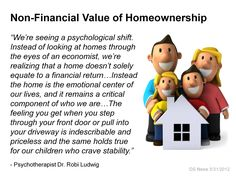 The psychology of home ownership...not just a house, but a home.