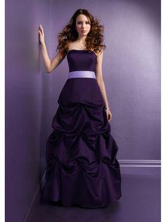 Grape Ball Gown Strapless Sleeveless Floor Length Bridesmaid Dresses / Wedding Party Dresses 1105006