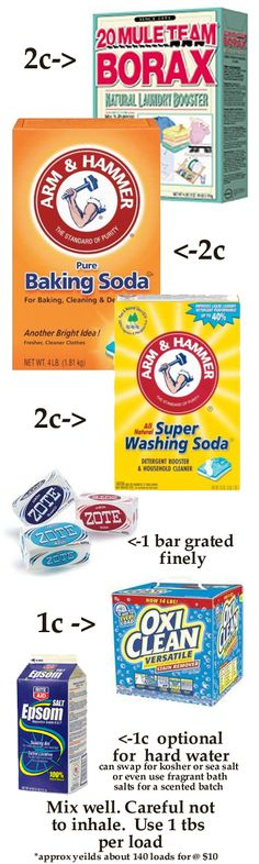 Laundry Detergent (dry)        I know a lot of recipes out there called for Fels Naptha but we use Zote & it is great for sensitive skin, but you can still use Fels Naptha in this recipe if you want,  The Epsom salts are for water softening or use Kosher or Sea Salt. Make sure your grated soap is fine, otherwise, the chunks will just float and not dissolve. Oxyclean is optional. I add a large container of Purex Crystals to this mix and have delightfully scented laundry!