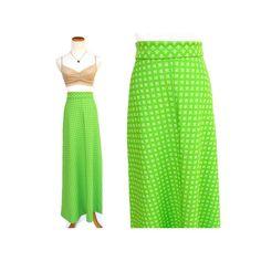 Hippie Maxi Skirt // 70s A-line Skirt // Neon Green Mod Flower Child Skirt // High Waisted Festival Skirt // Lime Green // Size Small