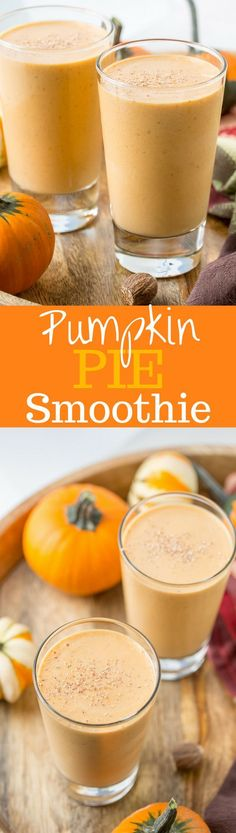 Pumpkin Pie Smoothie - Thick, rich, healthy and creamy, and it tastes like pumpkin pie in a glass. The perfect pumpkin pie craving buster! www.savingdessert...