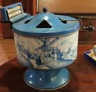 "Antique Large 10"" Wolverine Working Blue & White Tin Toy Washing Machine"