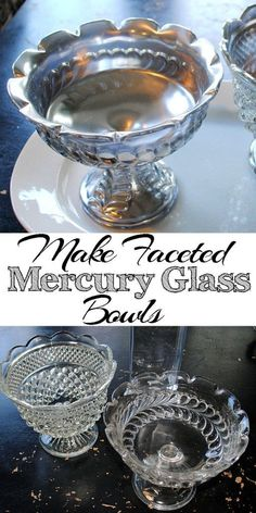 Make Your Own Mercury Glass with Thrift Store Faceted Bowls! Great DIY decorating project. I love this technique, you can make so many pretty crafts for your home with this stuff!