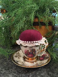 Elegant Colonial Couple Teacup Pincushion