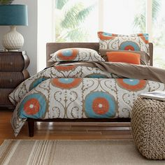 Odyssey Percale Duvet Cover and Sham Perfect for the master bedroom! Dream Bedroom, Home Bedroom, Bedroom Decor, Master Bedroom, Bedroom Ideas, Bedroom Orange, Bedroom Colors, Bedroom Neutral, Luxury Bedding Sets