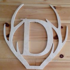 24 inch wooden Antler shape with letter by CraftyLittleThings2