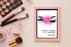 Make Up - Coco Chanel Quote - Lashes - Dressing Room Wall Art - Art Print - Digital Download, £2.40 #makeup #cosmetics #dressingroom #makeupquotes #makeupslogan #cocochanel #lashes #beautyquotes Makeup Quotes, Beauty Quotes, Coco Chanel Quotes, Handmade Items, Handmade Gifts, Dressing Room, Makeup Cosmetics, Art Art, Digital Scrapbooking