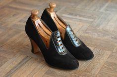vintage NOS 1930s shoes / 30s black suede and by honeytalkvintage