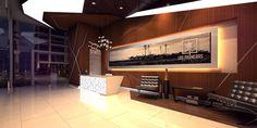 Lobby moderno y con un toque de madera para darle calidez