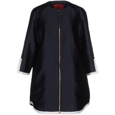 Moncler Gamme Rouge Coat ($988) ❤ liked on Polyvore featuring outerwear, coats, dark blue, single breasted coat, blue coat and moncler gamme rouge