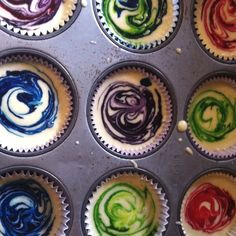 Tie-dye cupcakes. Super fun!   Drop food coloring in cupcake mix. Stir with a toothpick. Bake as normal.