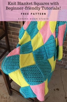 Knit blanket square patterns with beginner-friendly tutorials from Banana Moon Studio! #knitblanketpatternfree #knitblanketsquares #learntoknitpatterns Easy Patterns, Easy Knitting Patterns, Square Patterns, Crochet Blanket Patterns, Baby Blanket Crochet, Knitting Stitches, Free Knitting, Easy Knitting Projects, Knitting For Beginners