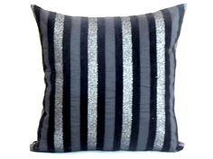 Silver stripe throw pillow sham – Custom black cushion cover – 18x18 pillow cover – Velvet satin livingroom sofa toss pillow chair accent