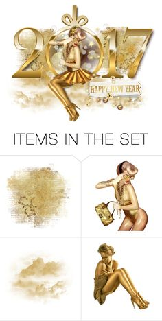 """""""Golden 2017"""" by duchessbee ❤ liked on Polyvore featuring art and newyearseve2016"""