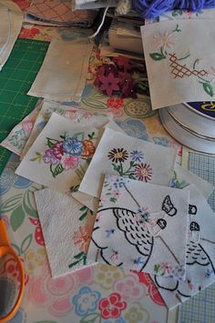 """Making quilts with vintage embroidery.  Fussy cuts.  HenHouse: A Pleasant Day's """"Work"""""""