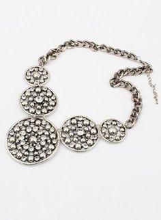 Retro Silver Diamante Necklace [NS13010200] - $10.42 : EverMissFashion.com