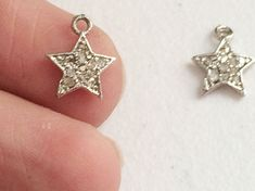 Pave Diamond Charm Pendant Diamond Star 925 by gemsforjewels