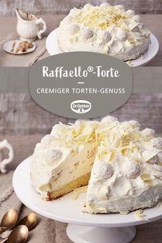 Raffaello®-Torte Raffaello® cake: A creamy cake with Raffaello® and coconut liqueur baking Quick Dessert Recipes, Cake Recipes, Authentic Mexican Recipes, Torte Recipe, Flaky Pastry, Savoury Cake, Food Cakes, Clean Eating Snacks, Sweets