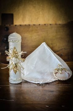 Beautiful crafted baptism candle set. $75.00, via Etsy.