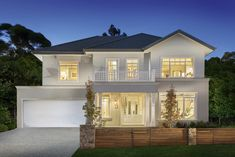 House design: waldorf grange - porter davis homes classic house exterior, c Classic House Exterior, Classic House Design, Modern House Design, Facade Design, Exterior Design, Exterior Signage, Exterior Stairs, Exterior Paint, Hamptons Style Homes