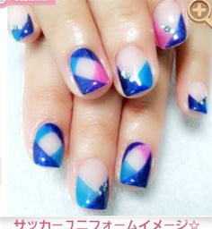 Blue , Pink And Deal Purple  by Tamarx030 from Nail Art Gallery