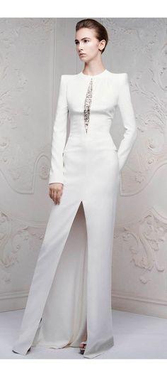 Alexander McQueen  Pre-Spring/Summer 14/14  White embellished floor length dress