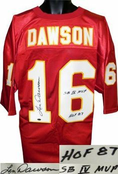 Len Dawson signed Kansas City Chiefs Red Prostyle Jersey HOF 87 & SB IV MVP . $283.86. Len Dawson led the Chiefs to victory in Super Bowl IV and won the game's MVP award. Dawson retired from pro football in 1975 and was inducted into the Pro Football Hall of Fame in 1987. He was a 6 Time AFL All-Star selection, a 1 time Pro Bowl selection, a 4 Time All-AFL selection, and a 3 time AFL champion. Len Dawson has hand autographed this Kansas City Chiefs Red ProStyle Jersey with HOF87...