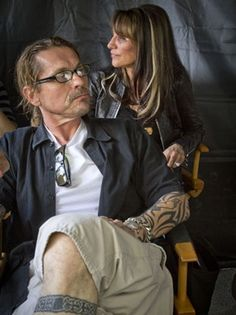 Kurt Sutter (creator of SoA, plays Otto) and Wife (Katey Sagal who plays Gemma)...