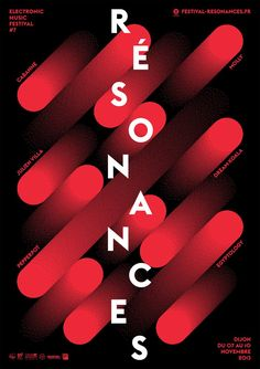 Graphic Prints Résonances, poster submitted and designed by Atelier Tout va bien (Mathias Reynoird & Anna Chevance, –Type OnlyUnit Editions Type Posters, Graphic Design Posters, Graphic Design Typography, Graphic Design Inspiration, Japanese Typography, 3d Typography, Poster Designs, Creative Inspiration, Graphisches Design