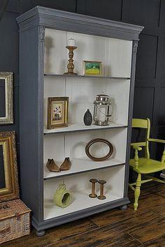 Grey & White Shabby Chic Antique Pine Bookcase artwork
