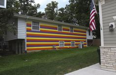 "Shortly after neighbors complained about the dogs at this Glen Ellyn home, and police issued a ticket, a resident painted one side of the exterior in yellow, orange and purple. ""I'm just concerned because if they can do this, what else?"" neighbor Leigh Van Heule said."
