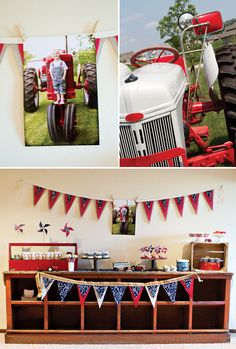 Tractor Birthday Party Idea  ---like it, minus the red, white, and blue. Perhaps John Deere Green or Tonka Yellow?