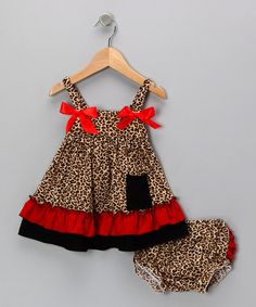 Take a look at this Tan Jungle Top & Ruffle Diaper Cover - Infant by Micro Couture on #zulily today!