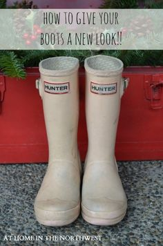 Hunter Rain boots get a new life/update! She used Rustoleum 2x for plastic spray paint. These are the before-at home in the northwest