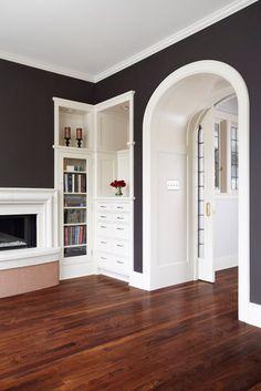 black walls + white trim built-ins