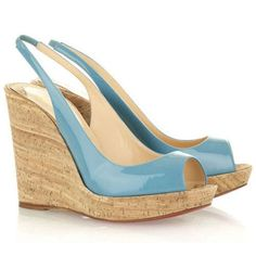 Christian Louboutin  Jean Paul 120mm Wedges Light Blue on the lookout for limited offer,no tax and free shipping.#shoes #womenstyle #heels #womenheels #womenshoes  #fashionheels #redheels #louboutin #louboutinheels #christanlouboutinshoes #louboutinworld