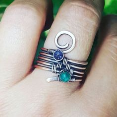 Multistone band ring amethyst green onyx ring wire wrapped