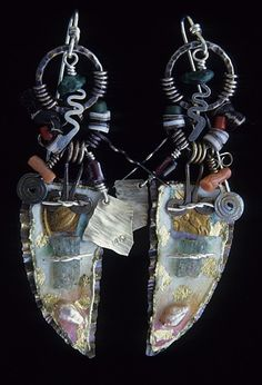 Ken Bova, Sterling, 14k gold, 23k gold leaf, aquamarine, malachite, coral, shell, glass, pearls