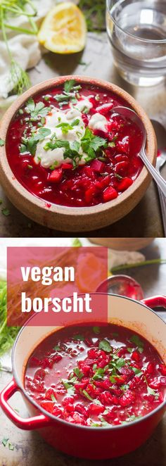 This cozy vegan borscht is made with vibrant beets, hearty veggies and flavored with zippy lemon juice and dill. Funny story: for the longest time I assumed borscht was gross, even though I had abso Beet Recipes, Vegan Dinner Recipes, Delicious Vegan Recipes, Vegan Dinners, Soup Recipes, Whole Food Recipes, Vegetarian Recipes, Cooking Recipes, Healthy Recipes