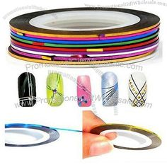 awesome Wholesale Rolls Striping Tape metallic Line Nail Art Decoration Sticker Line Nail Art, Striping Tape, Nail Tape, Metallic Nails, Nail Stickers, Hologram, Rolls, Decoration, Elegant
